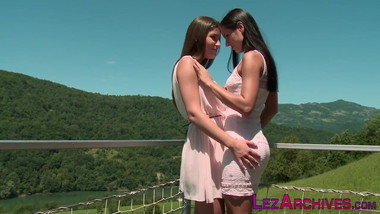 Pretty lesbian rubbing and licking