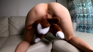 LITTLE HORNY SCHOOLGIRL VERY LOVES HER DOG. PlAYING WITH TOY.