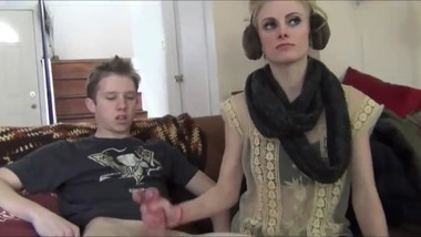 Sexy stepsis jerking off her stepbrother's very big dick