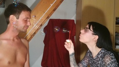 Beth Kinky - Blowing soap bubbles into my naked slave's face