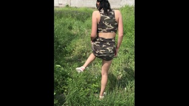 Army girl pissing outside