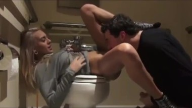 Stepbrother fucked hard his naughty 18yo stepsis in public restroom