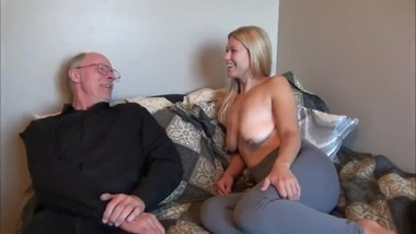 18yo stepdaughter with big saggy tits fucks her stepdad with very big cock