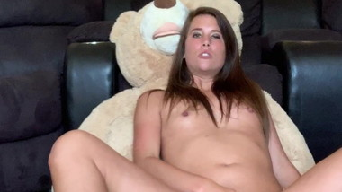 Sexy babe humping her teddy bear