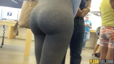 big ass walking in tight leggings