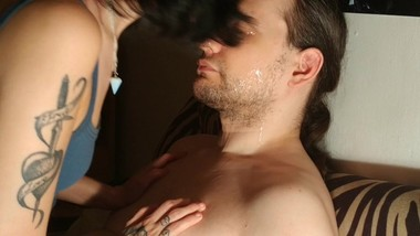 Beth Kinky - I'm Dad's little kitten, so I wash His face with my tongue HD