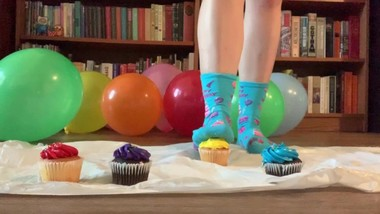 Birthday Cupcake Food Stepping/Crushing in Socks