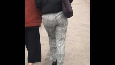 Thick round juicy Albanian bubble butt in tight pants