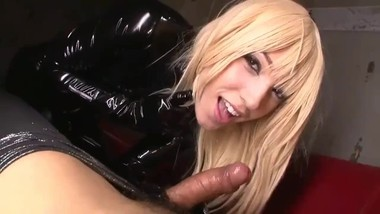 Blonde in black Latex suck and fuck