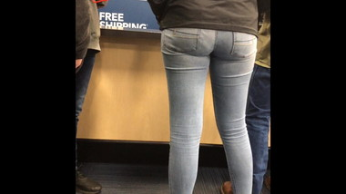 A tall drink tight jeans candid booty