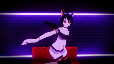 Virtual pale skinny demon cat girl performs sexy dance for you