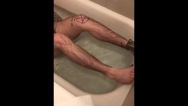 Trans Boy Masturbating, Cumming, and Pissing in the Bathtub