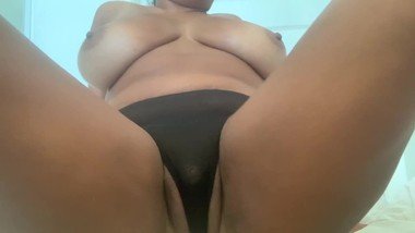 Curvy ebony in see through panties rubs big clit & fucks pussy til she cums