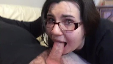 FACE FUCKING MY NERDY ROOMMATE AND CUMMING ON HER FACE