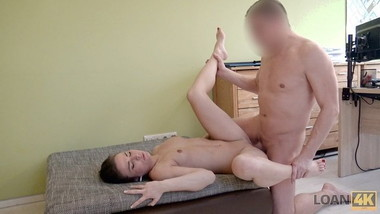 LOAN4K. Brunette has sex for cash for the first time in loan