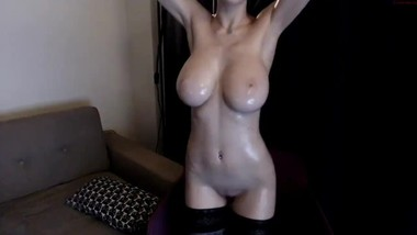 HOT TEEN WITH HUGE NATURAL BOOBS and oiled body