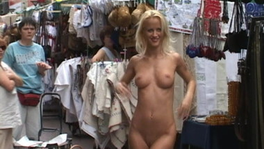 Girl strips nude in public all over town