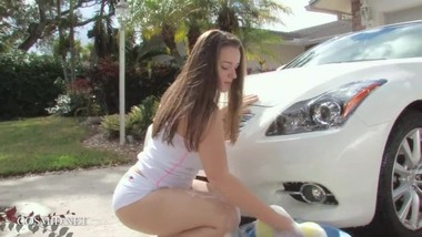 Girl next door helps with washing the car