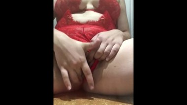 Teenager in lingerie with big tits orgasm on the bathroom floor