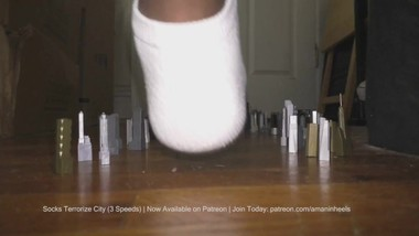 amaninheels Giant Crossdresser Socks Terrorize City (Teaser)