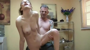 Horny 18yo stepdaughter with big tits gets amazing creampie from stepdad
