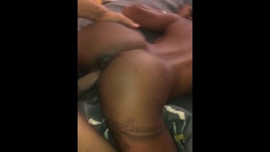 slim thick ebony takin hard back shots