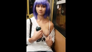 Cute Hungarian Girl show her Boobs in Public Metro Budapest Astoria