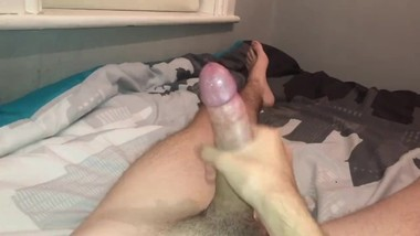 Teen tugs on his big throbbing cock until he cums and explodes everywhere