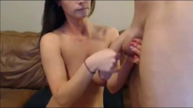 Naughty stepsis playing with her stepbrother's very big cock