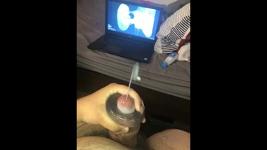 Hairy Latino Chub Cums with his Sucker Toy