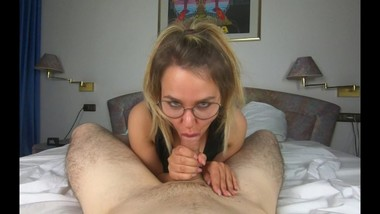 Nerdy Teen with Glasses Showing Her Secret Sucking Skills - Ruined Orgasm