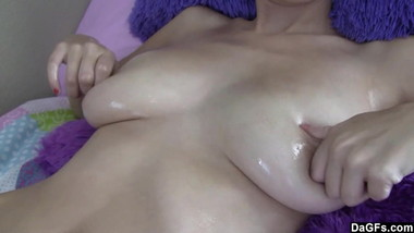 Nathalia caress herself with thick oil