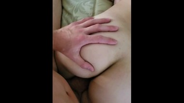 Sexy fuck on a loud bed cum on her ass