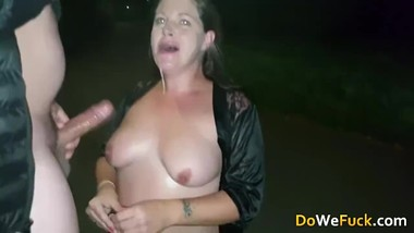 Real UK Whore make rough deepthroat blowjob and swallow