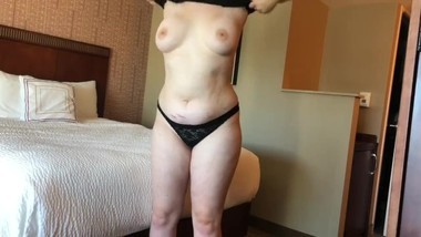 Fat 19 year old strips and has fun in hotel room