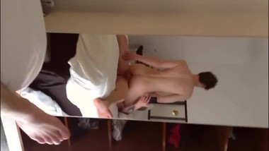 Bareback Quickie Before Leaving Hotel - Friends Outside Waiting SMOOTH ASS