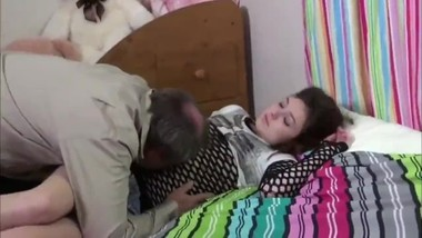Hairy 18yo babe loves her stepdad before going to bed
