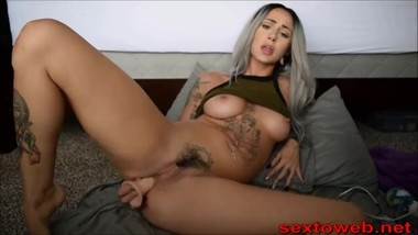 Gray hair camgirl performs